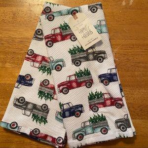 Happy Holidays Christmas Tree Truck Towel Set